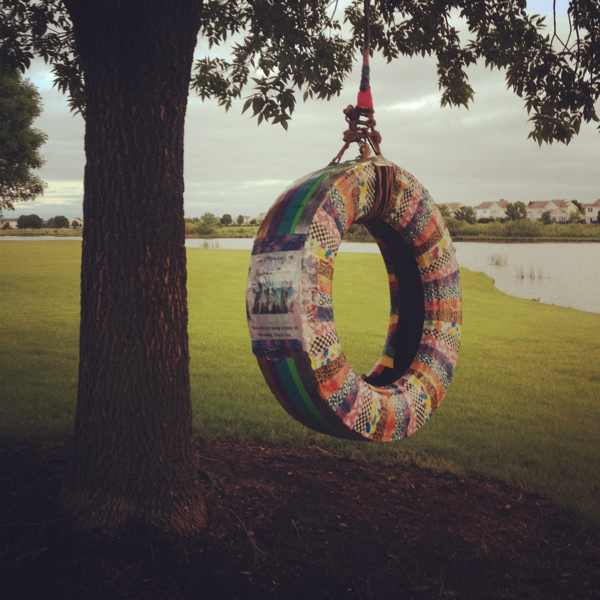 An 11 year old Memorial tire swing