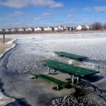 Frozen Picnic Tables, After Monet